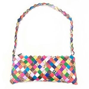 Handbags - Candy Wrapper baguette style weaved purse